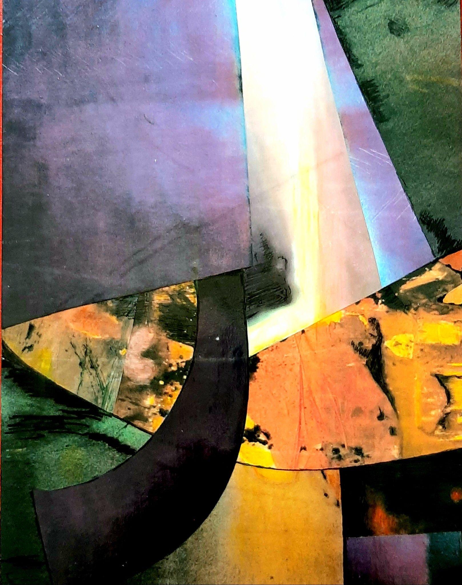ACRILICO SU TAVOLA MARIE LAURE COLASSON 'STRUTTURA CON LUCE' dimensioni L 30x H 40 cm.