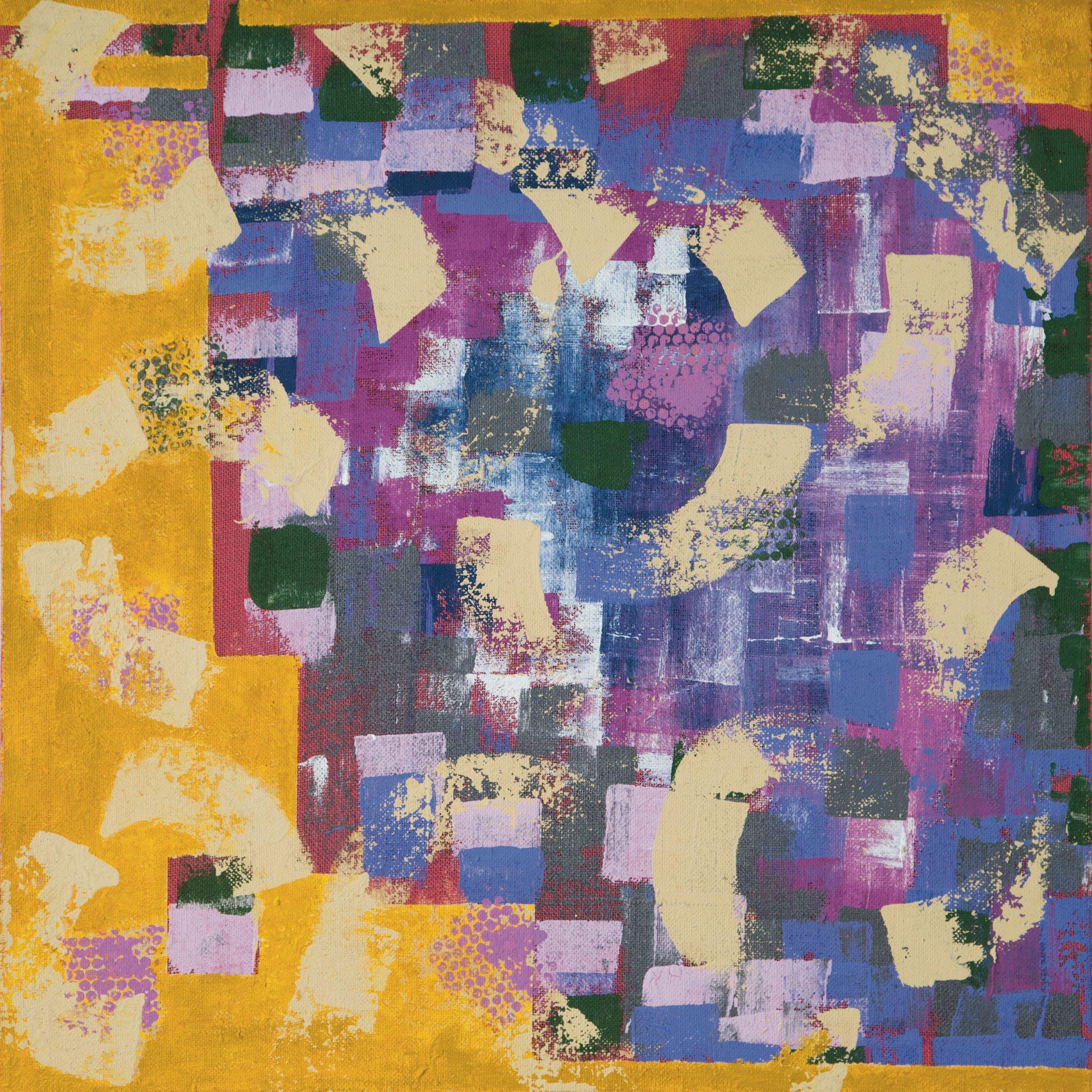 MIXED MEDIA SU JUTA FEOFEO 'MENTAL FIELDS' dimensioni L 98 x 98 cm.