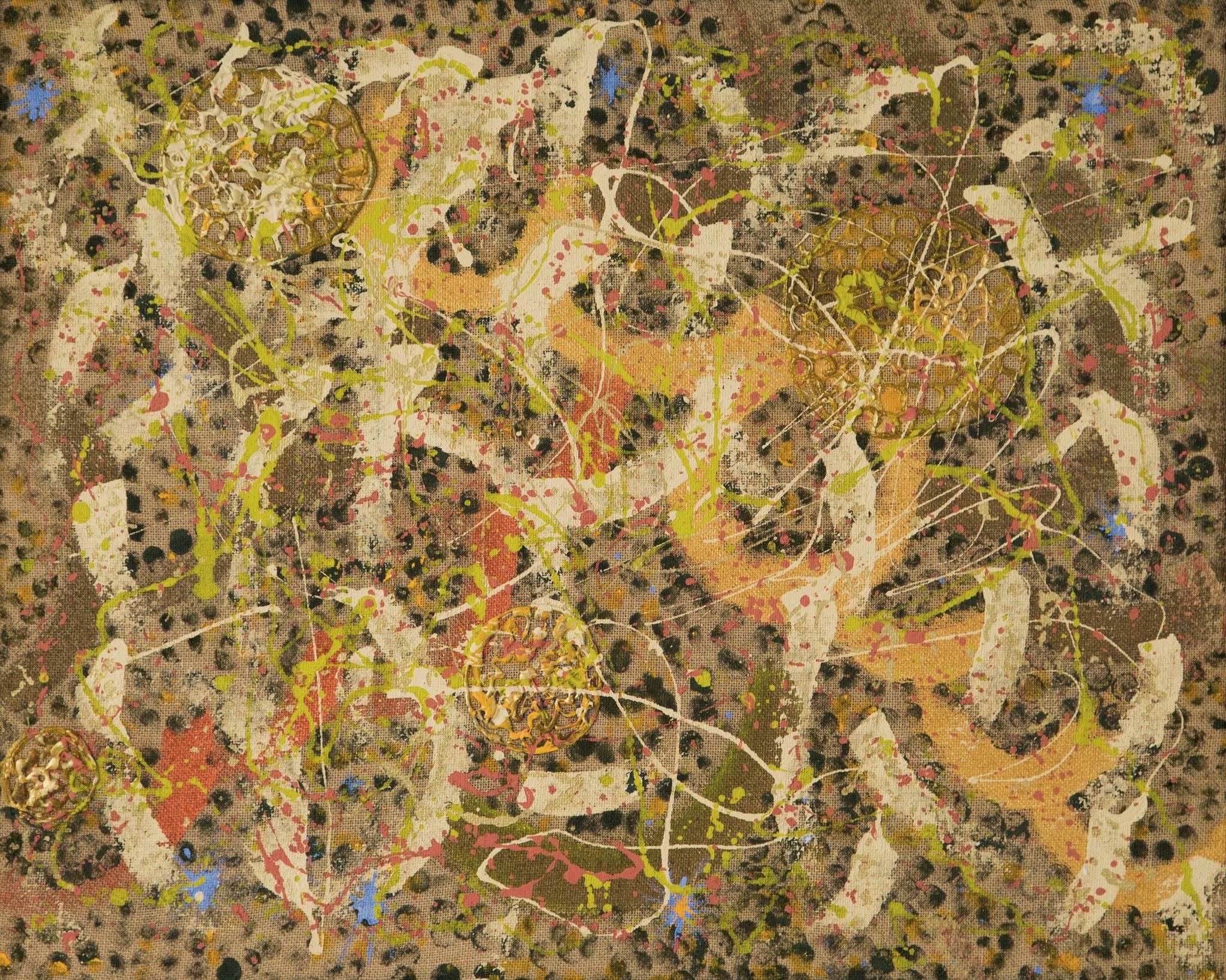 MIXED  MEDIA SU JUTA FEOFEO 'HAREM' dimensioni L 95 x H 76 cm.