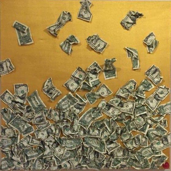 PROMOZIONE #artistadelmese MIXED MEDIA  ROBERTA BISSOLI  ' GOLDEN AGE '  dimensioni L 80 x H 80 x P 4 cm.