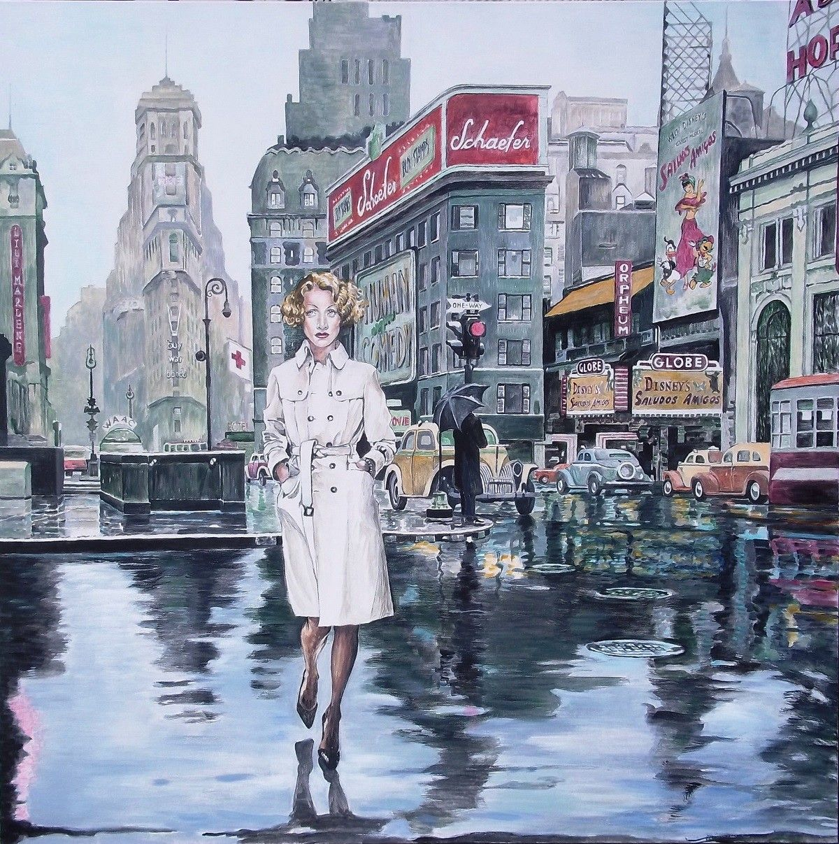 ACRILICO SU TELA  GIO'  STEFAN  ' MARLENE. NEW YORK 1943 '  dimensioni  L 100 x H 100 cm.