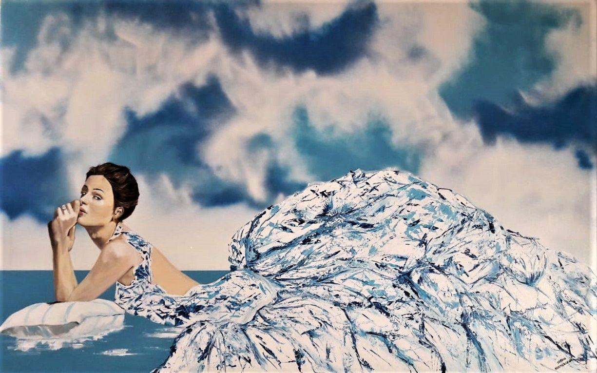 PROMOZINE #artistadelmese ACRILICO SU TELA  SERGIO BRAMBILLASCA ' LE DAME 1 ' dimensioni L 160 x H 100 cm.