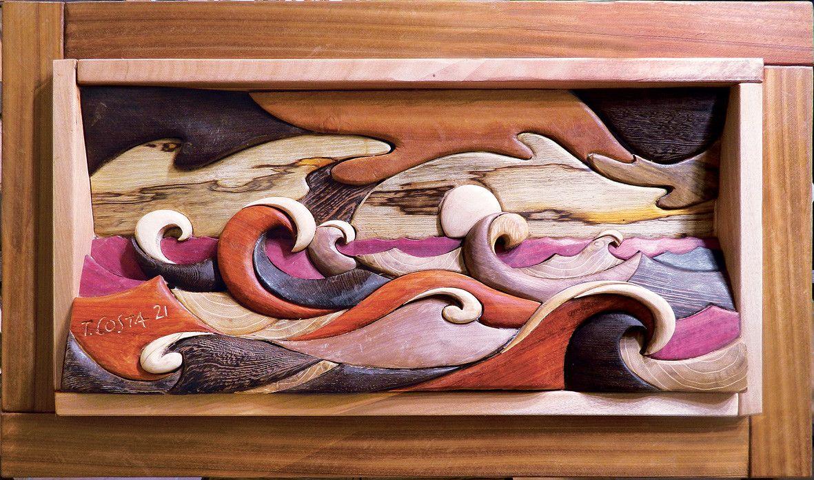 SCULTURA IN LEGNO  TIZIANO COSTA  ' BURRASCA '  dimensioni L 95  x H 54 cm.