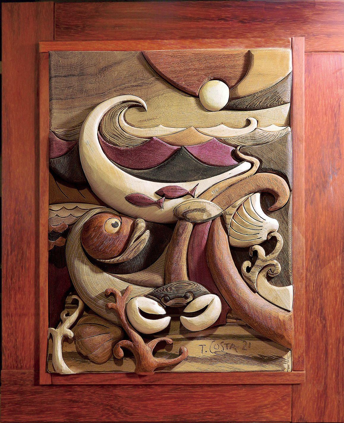 SCULTURA IN LEGNO  TIZIANO COSTA ' COME E PROFONDO IL MARE '  dimensioni L 52 x H 64 cm.