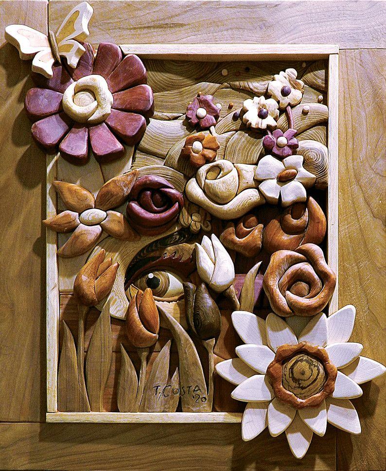 SCULTURA IN LEGNO  TIZIANO COSTA  ' PRIMAVERA 1 '  dimensioni L 63 x H 77 cm.