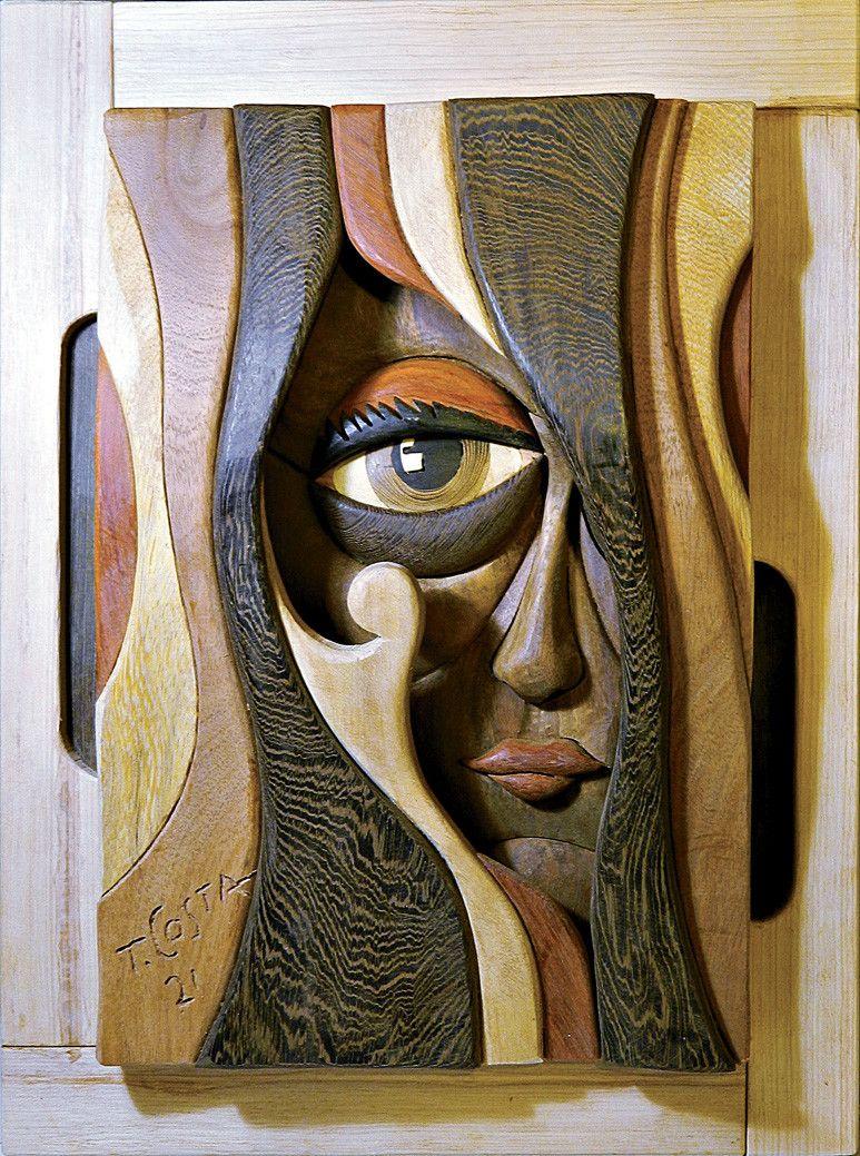 SCULPTURA IN LEGNO TIZIANO COSTA  ' MISTERO '  dimensioni L 42 x H 57 cm.