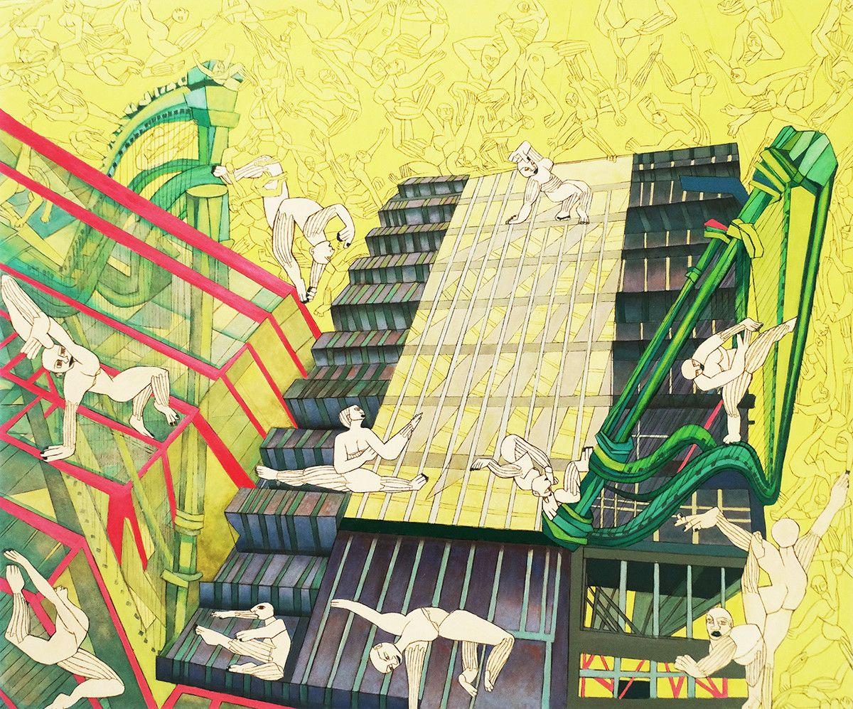 """OLIO SU TELA ISABEL CARAFI' """" CITY OF MUSIC """"  dimensioni L 100 x H 120 cm."""