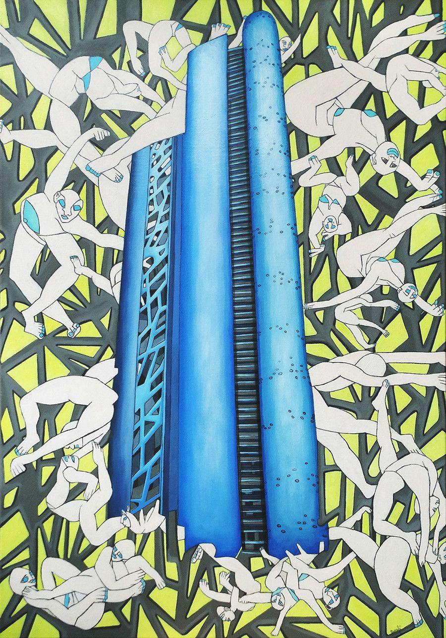 OLIO SU TELA ISABEL CARAFI' ' IMMIGRATION IN THE METROPOLIS '  dimensione L 120 x H 80 cm.