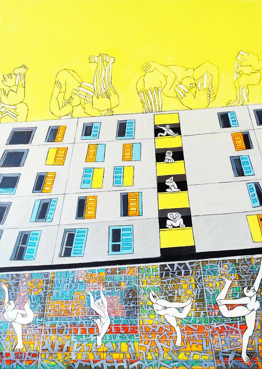 OLIO SU TELA ISABEL CARAFI' ' DANCING IN THE ARCHITETTURE '  dimensione L 50 x H 70 cm.