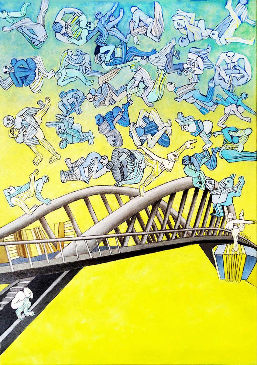 PROMOZIONE #artistadelmese OLIO SU TELA ISABEL CARAFI' ' BRIDGE DANCING '  dimensione L 50 x H 70 cm.