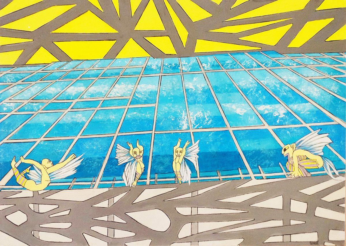 OLIO SU TELA ISABEL CARAFI' ' STRUTTURE DREAMS '  dimensione L 50 x H 70 cm.