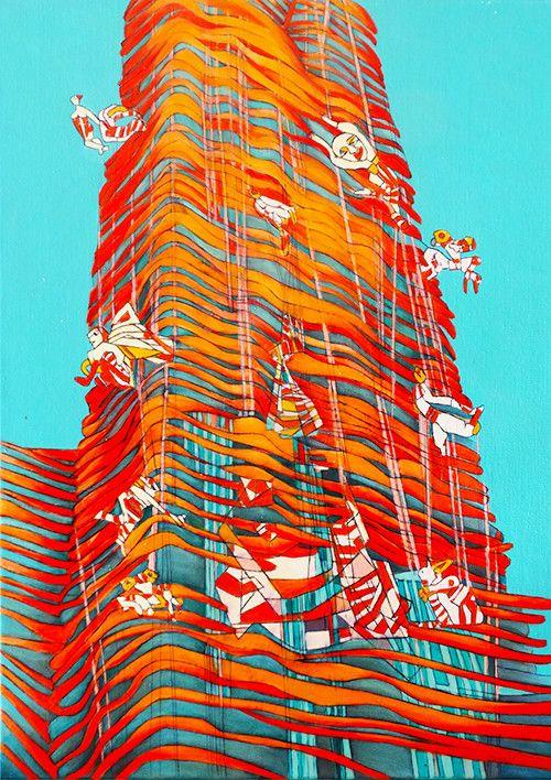 OLIO SU TELA ISABEL CARAFI' ' BABEL TOWER '  dimensione L 50 x H 70 cm.
