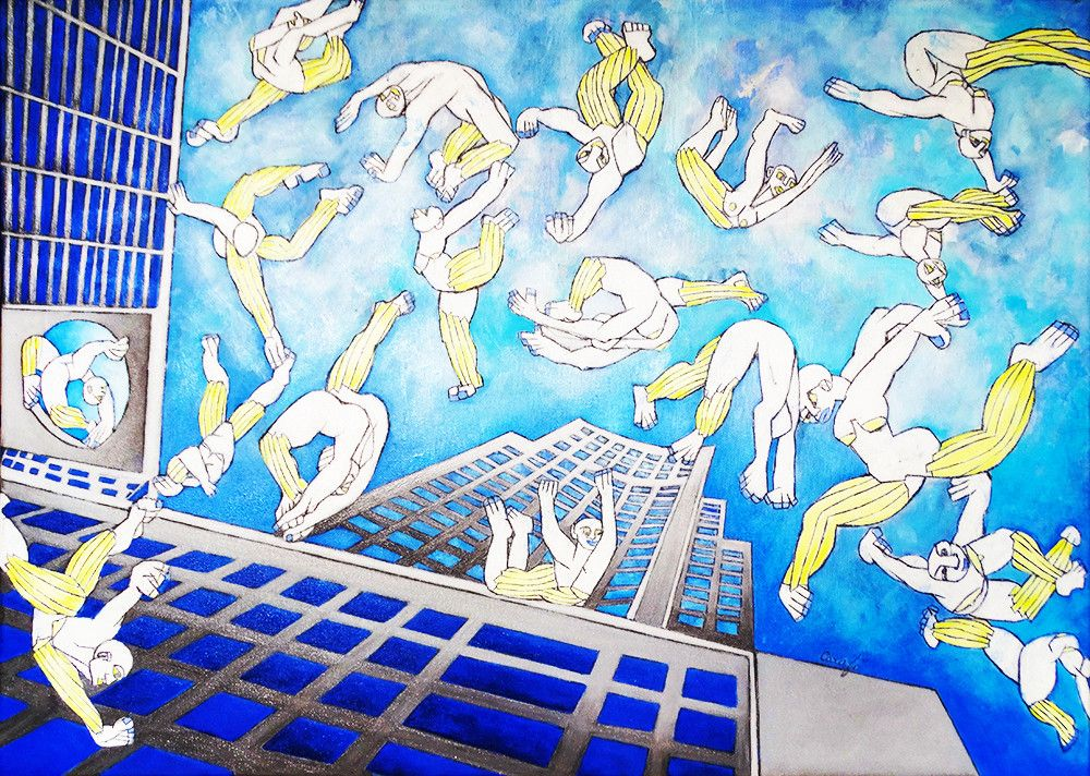 OLIO SU TELA ISABEL CARAFI' ' BIRDS OF THE SKY '  dimensione L 50 x H 70 cm.
