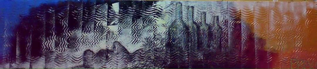 MIXED MEDIA VINCENZO PRESENTI ' PENSIERI STRANI '   size  L 160 x H 35 cm.