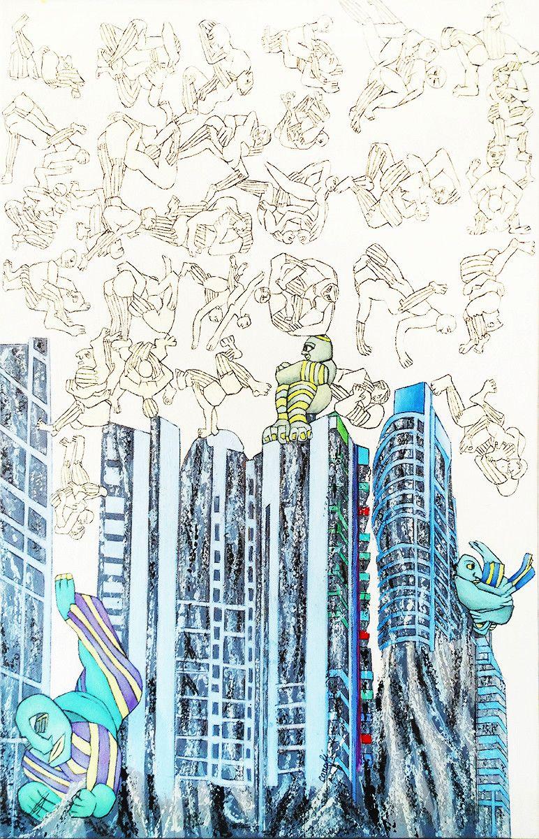 OLIO SU  TELA ISABEL CARAFI' ' FREE CIVILITATION '  dimensioni L 50 x H 70 cm.