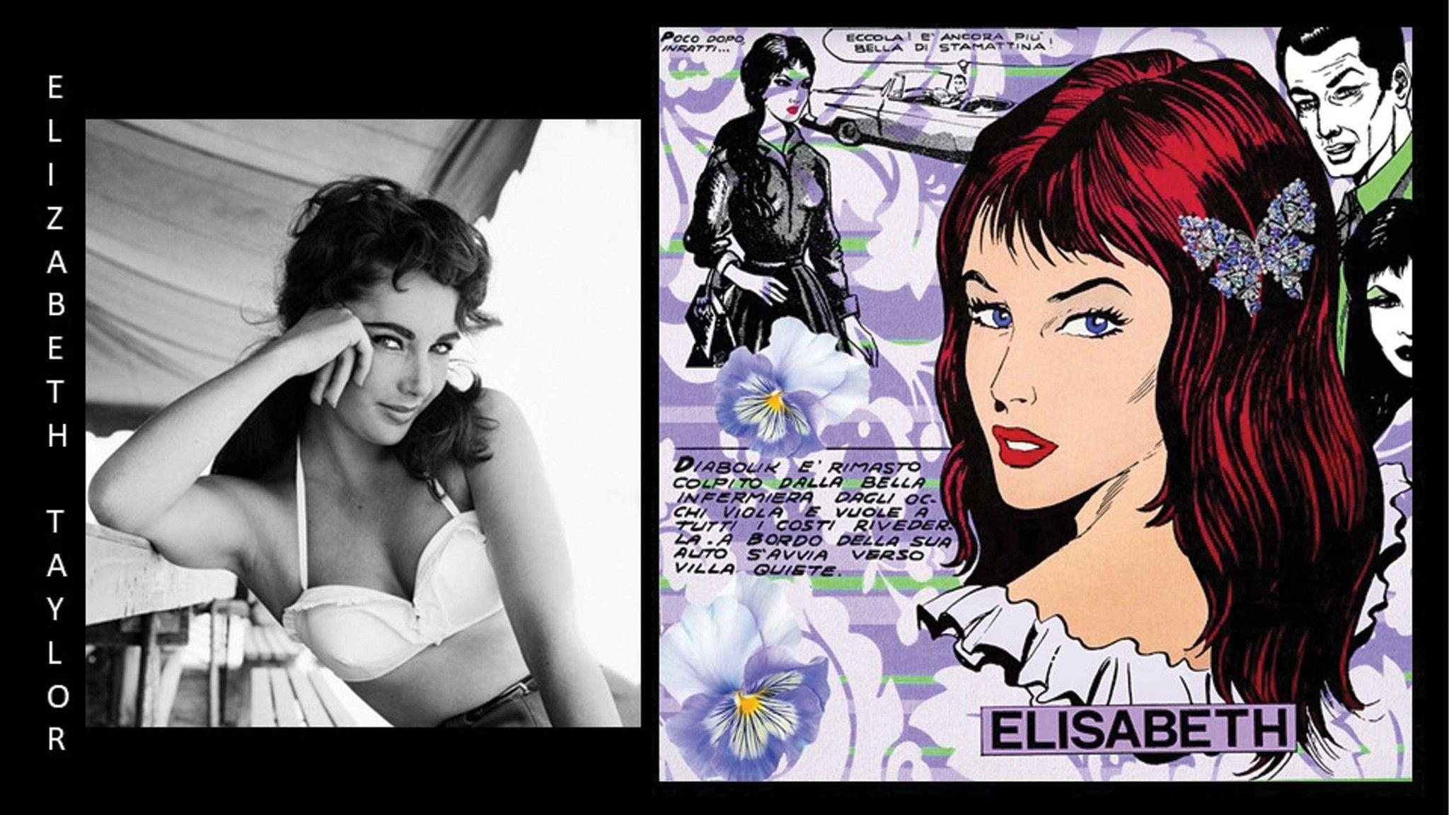 MIXED MEDIA SU TELA  CRISTINA STIFANIC ' ELIZABETH TAYLOR '  dimensioni L 100 x H 100 cm.