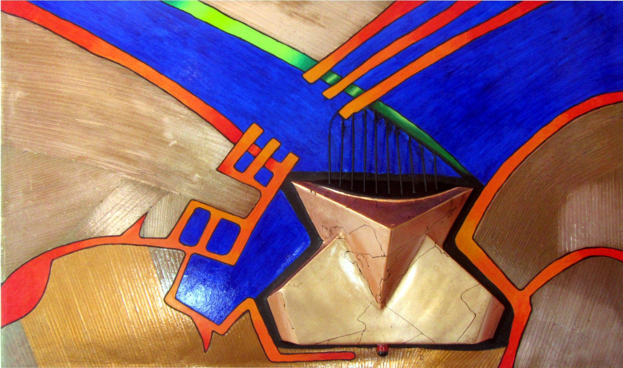 MIXED MEDIA ON WOODEN BOARD  MARIO VERDIANI ' DECO # 2 '  size L 100 x H 60 cm.
