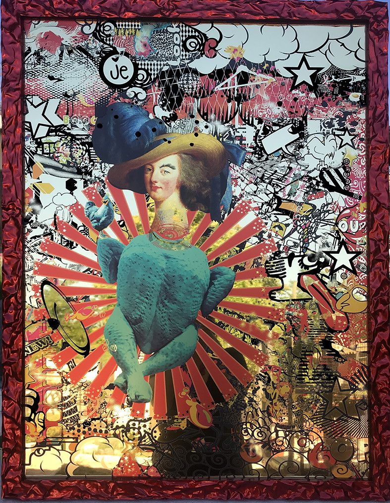 MIXED MEDIA SU SPECCHIO FRANCESCA FALLI ' MARIA ANTONIETTE '  dimensioni L 64 x H 84 cm.
