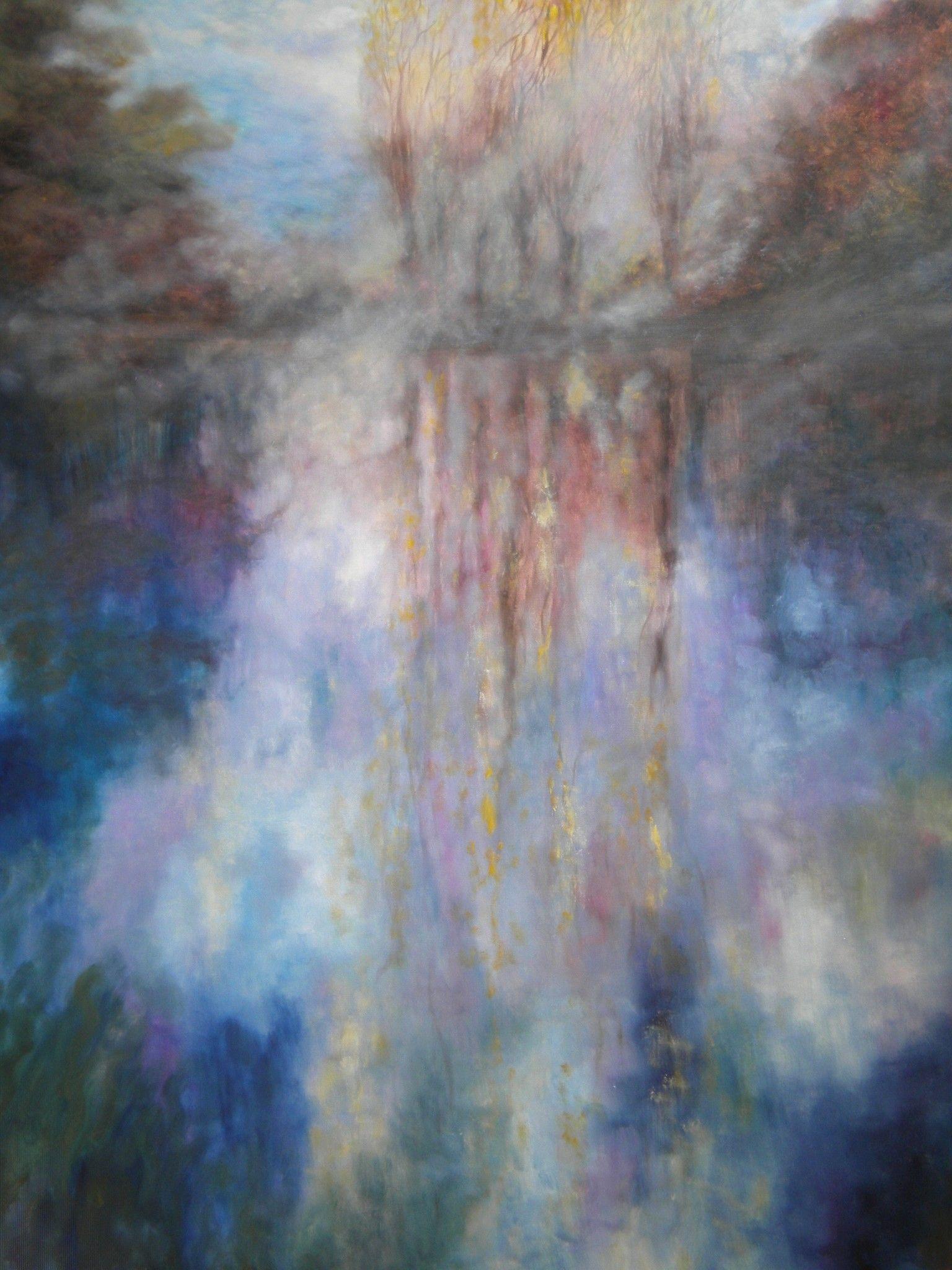 """OLIO SU TELA MIRELLA SCOTTON """" MAGICO AUTUNNO """"  dimensioni L 120 x H 150 cm."""