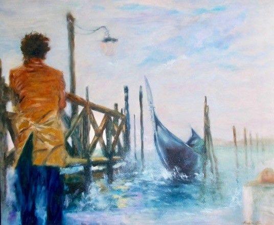 OLIO SU TELA MIRELLA SCOTTON ' ANONIMO VENEZIANO '  dimensioni L 120 x H 100 cm.