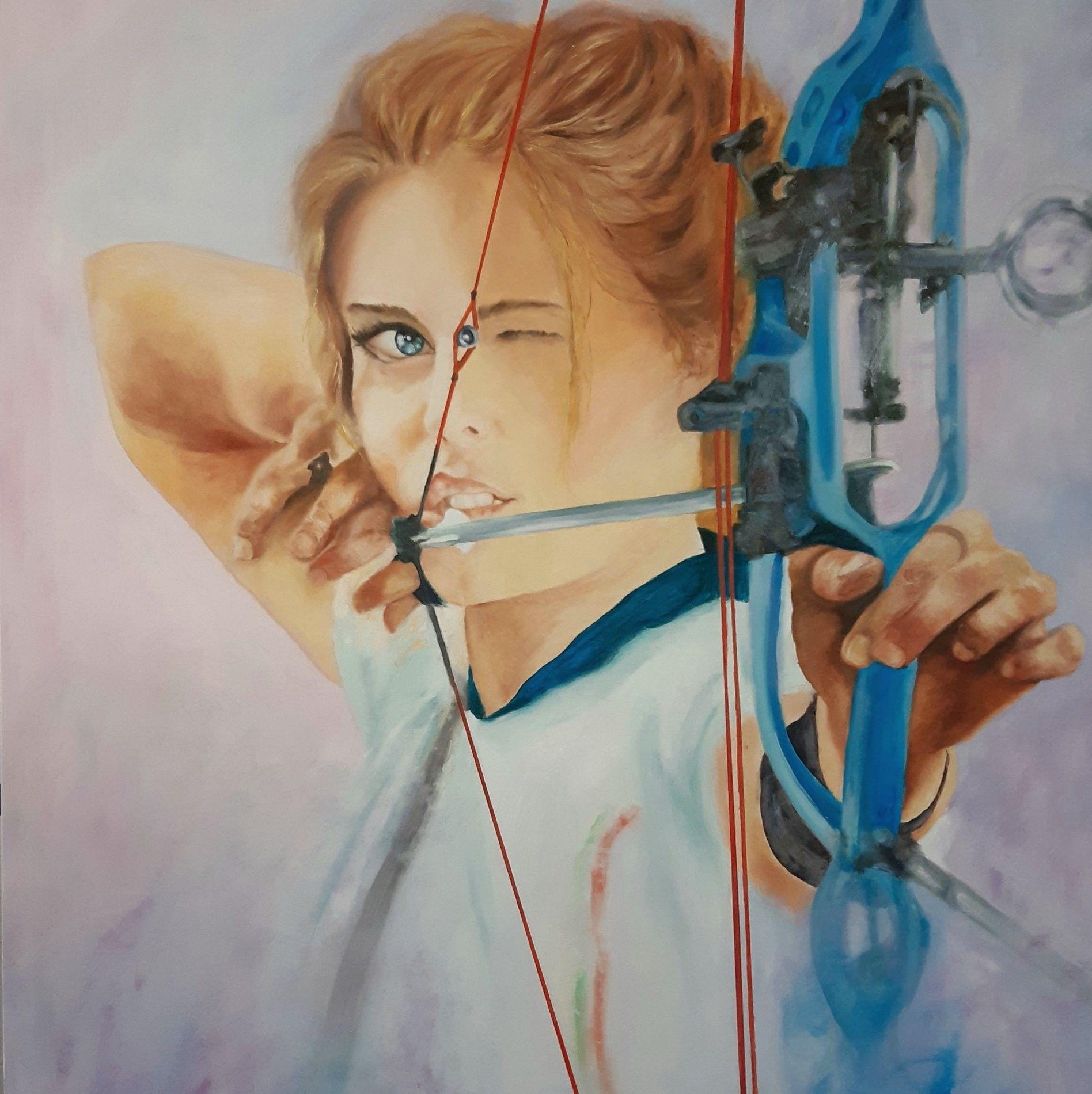 """OLIO SU TELA MIRELLA SCOTTON """" ARCHERY COMPOUND """"  dimensioni L 100 x H 120 cm."""