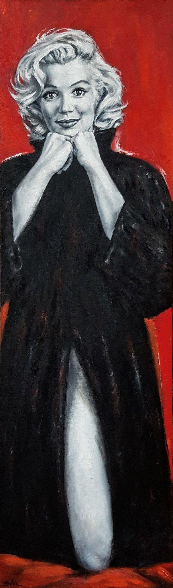 "OLIO SU TELA FRANCA SILVA "" MARILYN MONROE ""  dimensioni L 30 x H 100 cm."