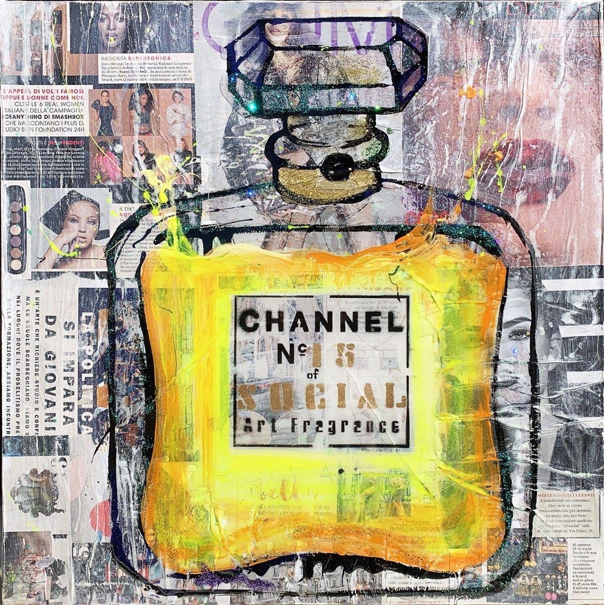 """MIXED MEDIA SU TELA LUDMILLA RADCHENKO """" CHANNEL YELLOW SOCIAL # 15 """"   dimensioni L 50 x H 50 cm."""