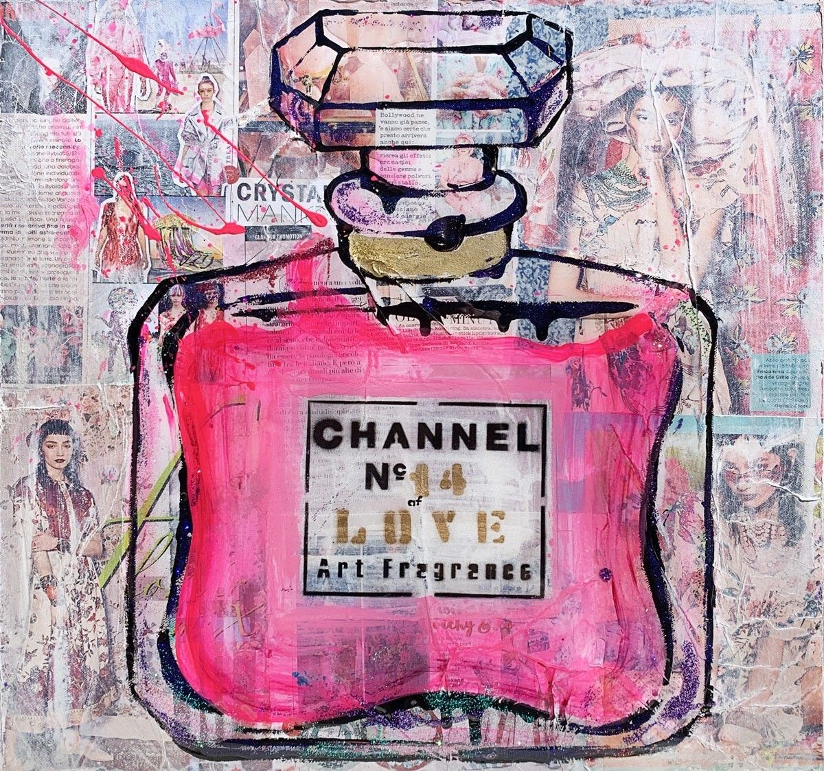 "MIXED MEDIA SU TELA LUDMILLA RADCHENKO "" CHANNEL PINK OF LOVE # 14 ""  dimensioni L 50 x H 50 cm."
