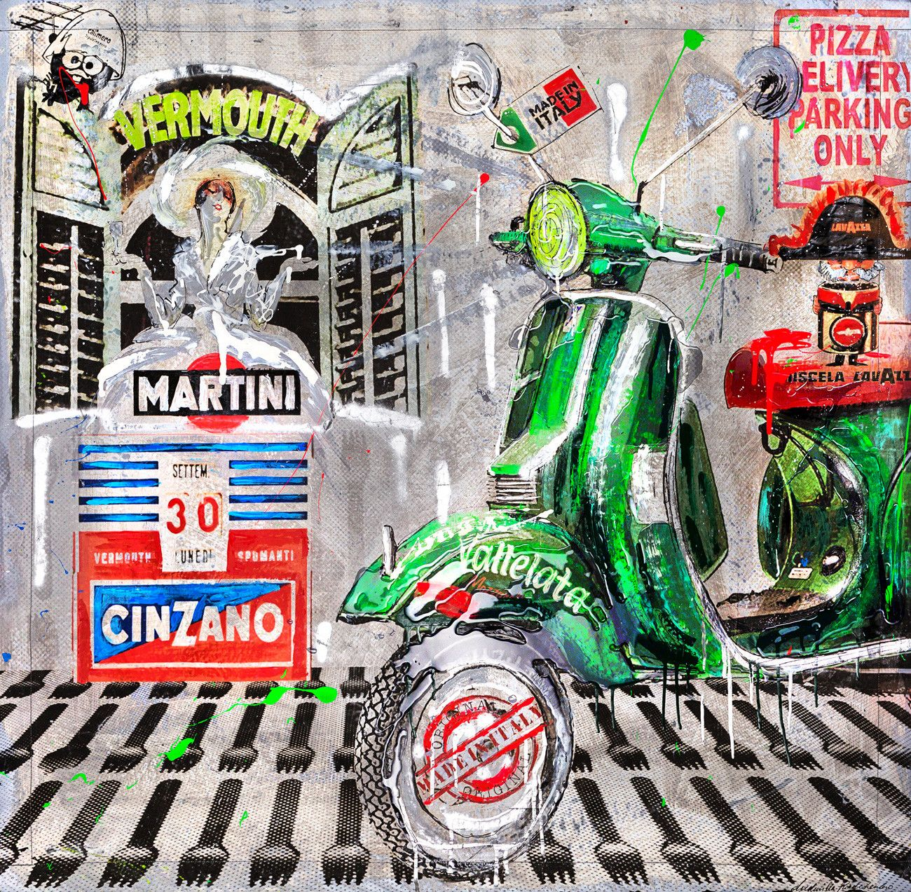 "MIXED MEDIA SU TELA LUDMILLA RADCHENKO "" MADE IN ITALY ""  dimensioni L 120 x H 120 cm."