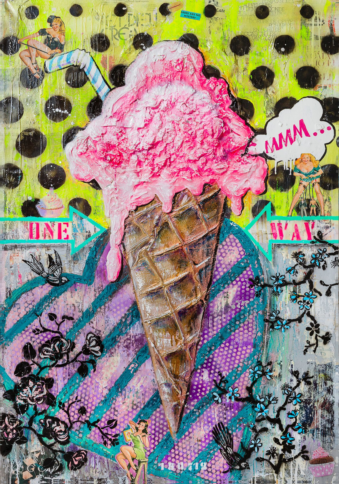 "PREGIATO FOULARD LUDMILLA RADCHENKO "" STRAWBERRY ICE-CREAM ""  dimensioni L 140 x H 200 cm."