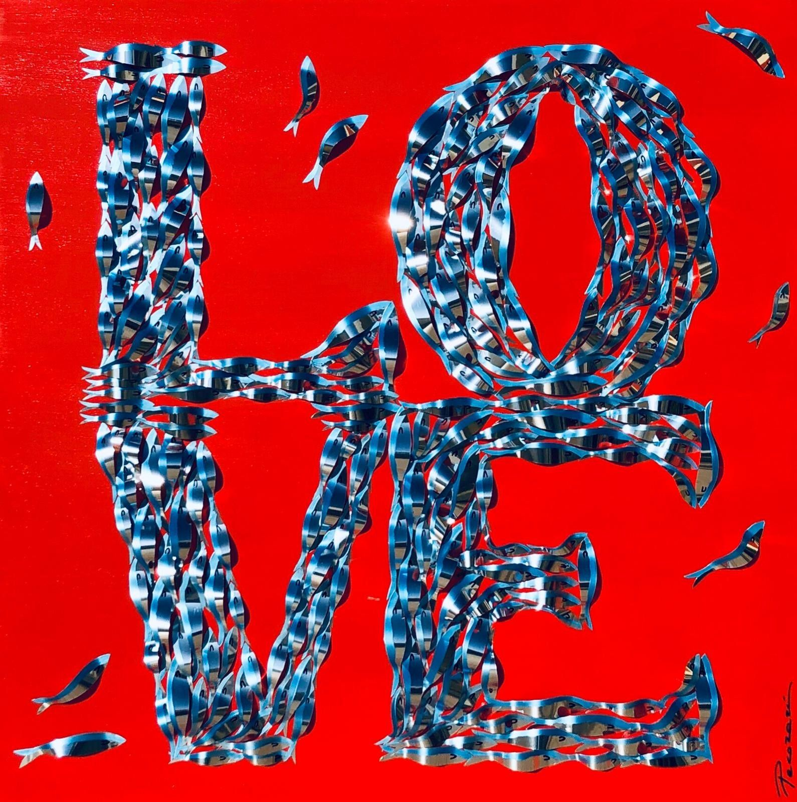 "MIXED MEDIA BARBARA PECORARI "" SARDINES LEAPING OUT POP LOVE ""  dimensioni  L 100 x H 100 cm."