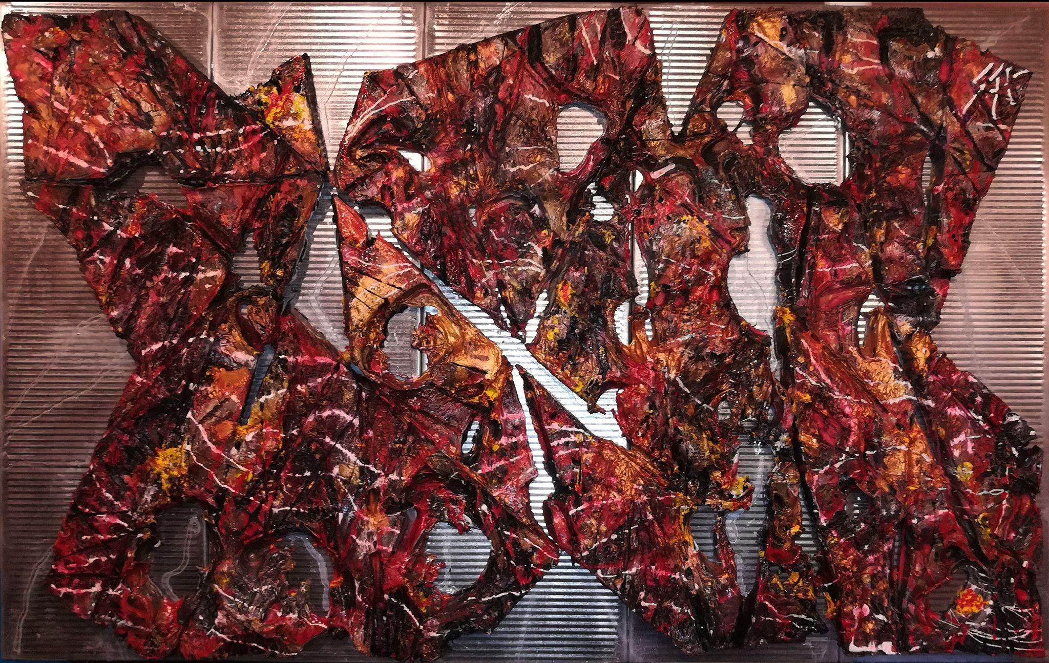 "MIXED MEDIA SERGIO SASSIDA "" ARCIPELAGO ""  dimensioni L 100 x H 60 cm."