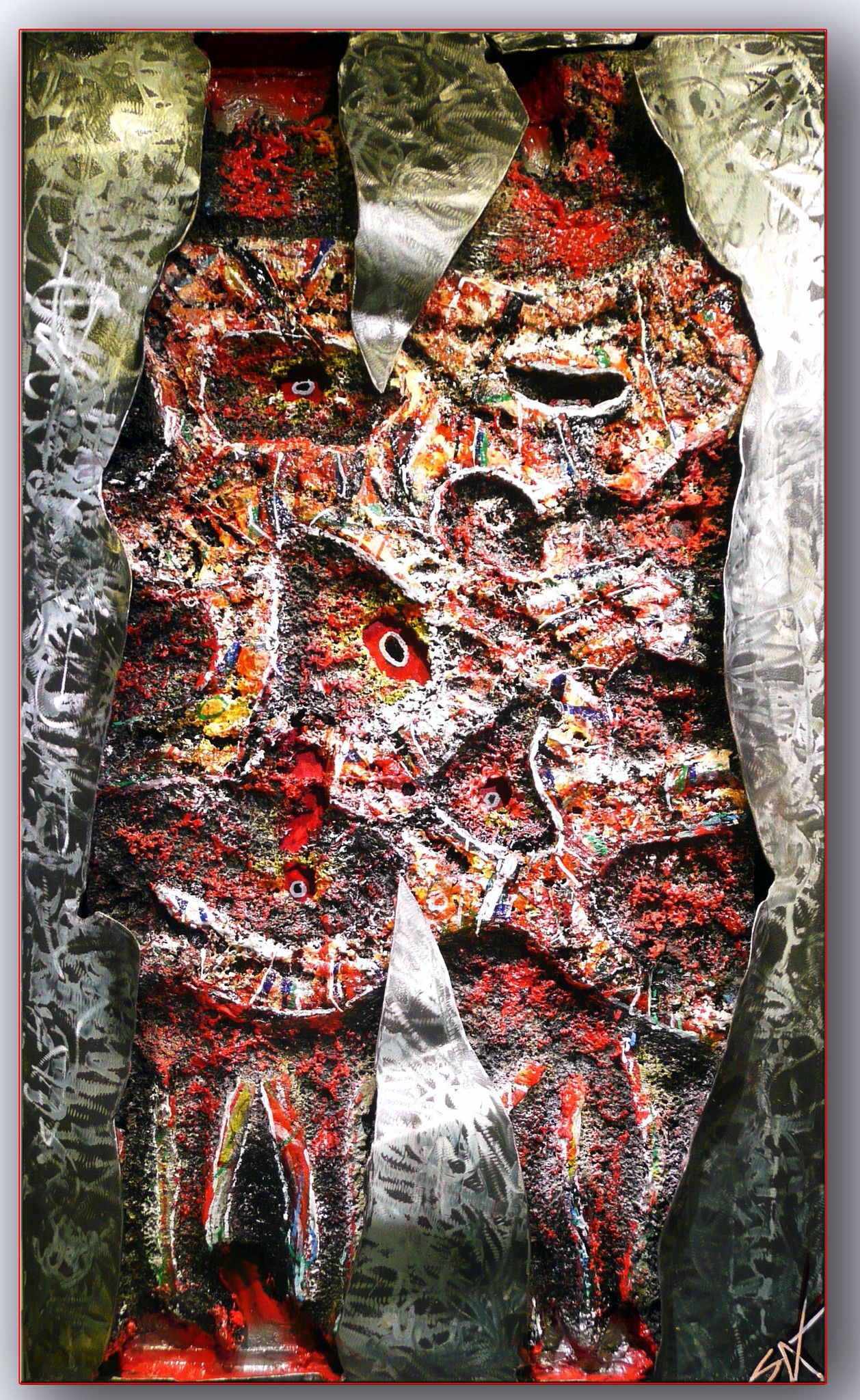 "MIXED MEDIA  SERGIO SASSIDA "" GRANDE ELMO ""  dimensioni L 60 x H 100 cm."