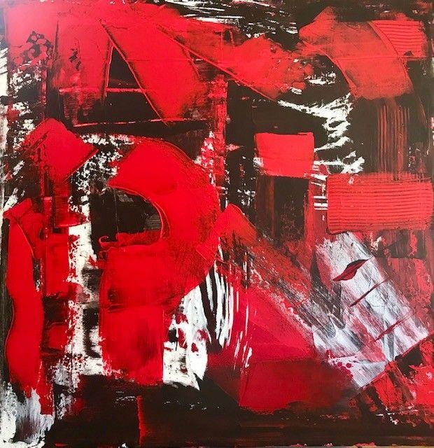 PROMOZIONE #artistadelmese ACRILICO SU TELA SANDRA MENOIA ' BACIO RUBATO '  dimensioni L 80 x H 80 cm.