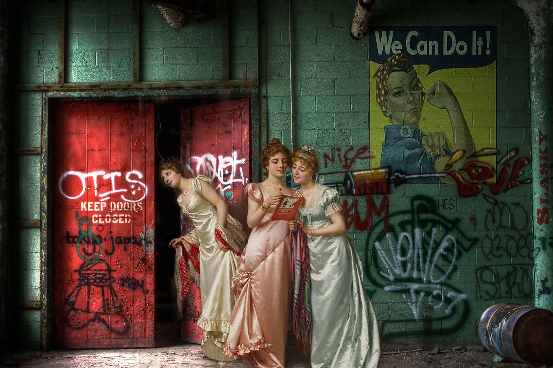 "FOTOGRAFIA DIGITALE SU TELA - ARTISTA SLASKY - TITOLO ""WE CAN DO IT"" cm. L 100 x H 70"