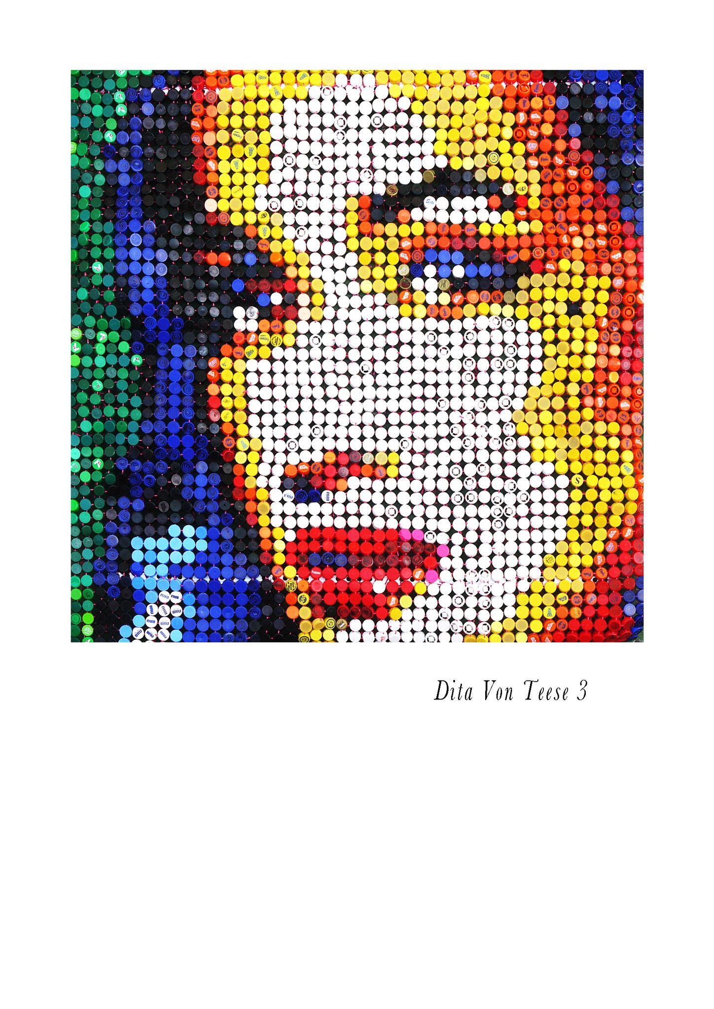 """MIXED MEDIA JORGE CASTRO GOMEZ """" DITA VON TEESE 3 """"  dimensioni L 145 x H 145 cm."""