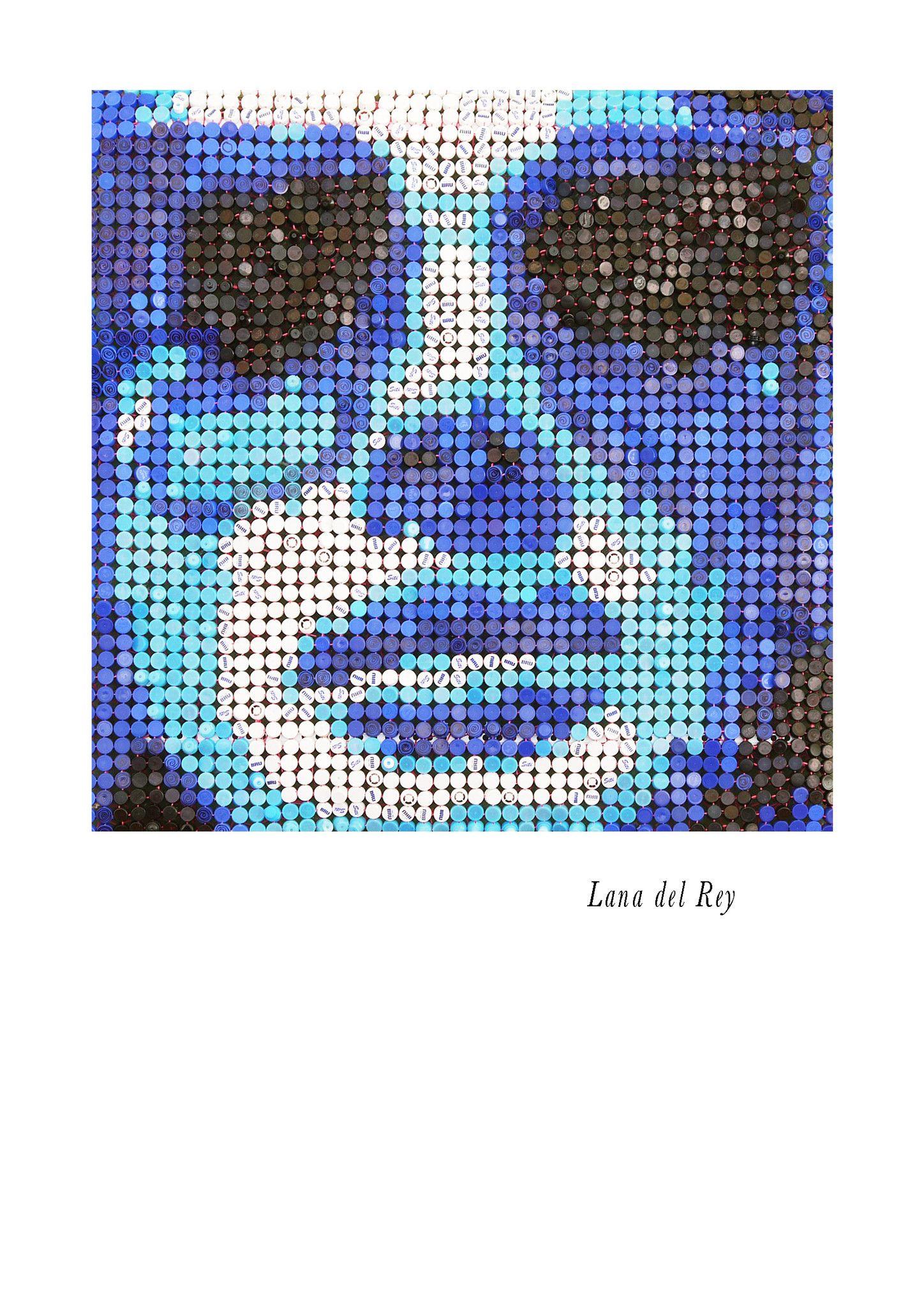 "MIXED MEDIA JORGE CASTRO GOMEZ "" LANA DEL REY ""  dimensioni L 145 x H 145 cm."