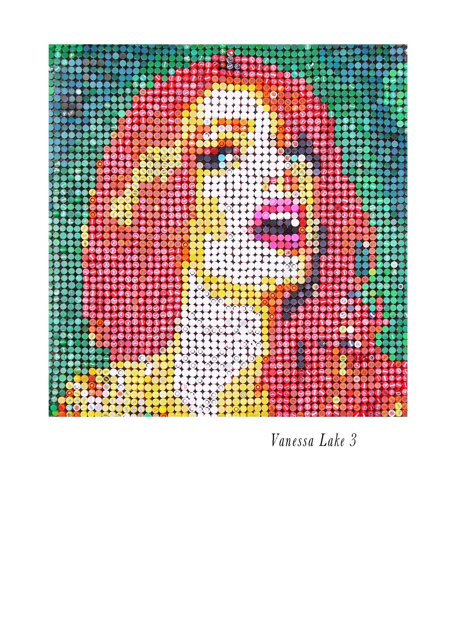 """MIXED MEDIA JORGE CASTRO GOMEZ """" VANESSA LAKE 3 """"  dimensioni L 145 x H 145 cm."""