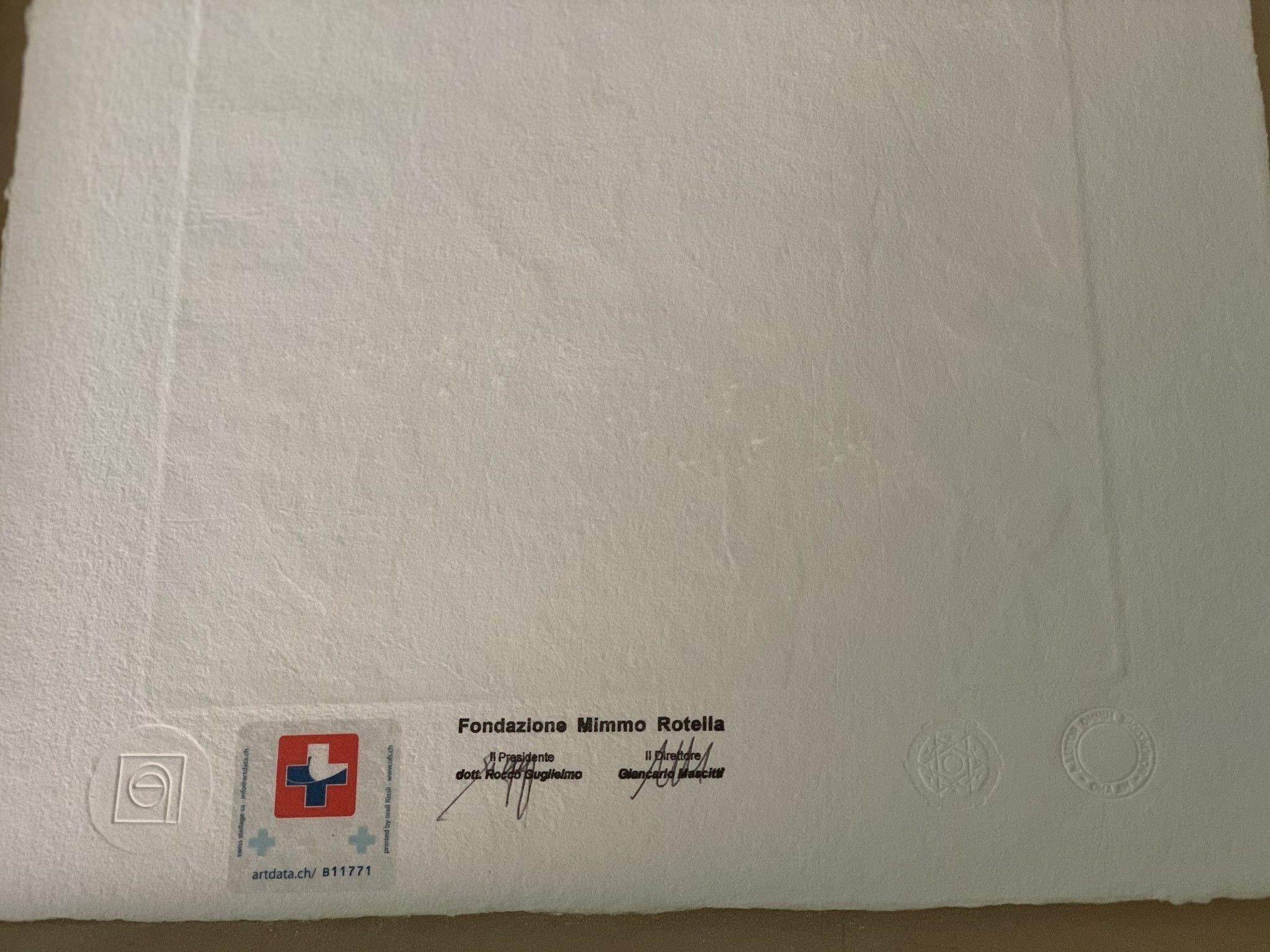 """SERIGRAFIA MIMMO ROTELLA """" ARRET D'AUTOBUS """"  dimensioni L 52 x H 62 cm."""