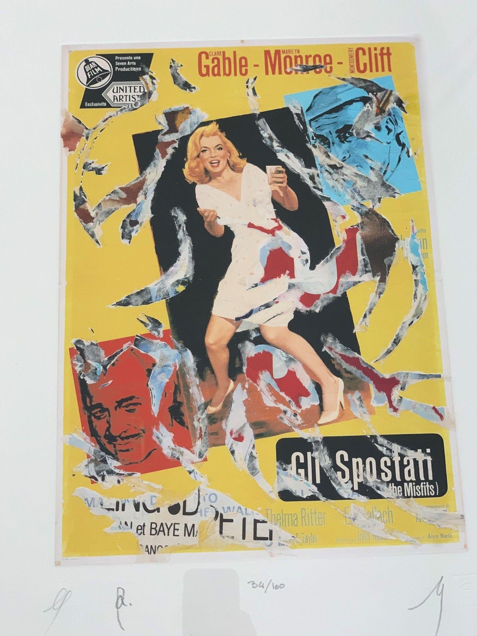 """SERIGRAFIA MIMMO ROTELLA """" GLI SPOSTATI """"  dimensioni L 52 x H 62 cm."""