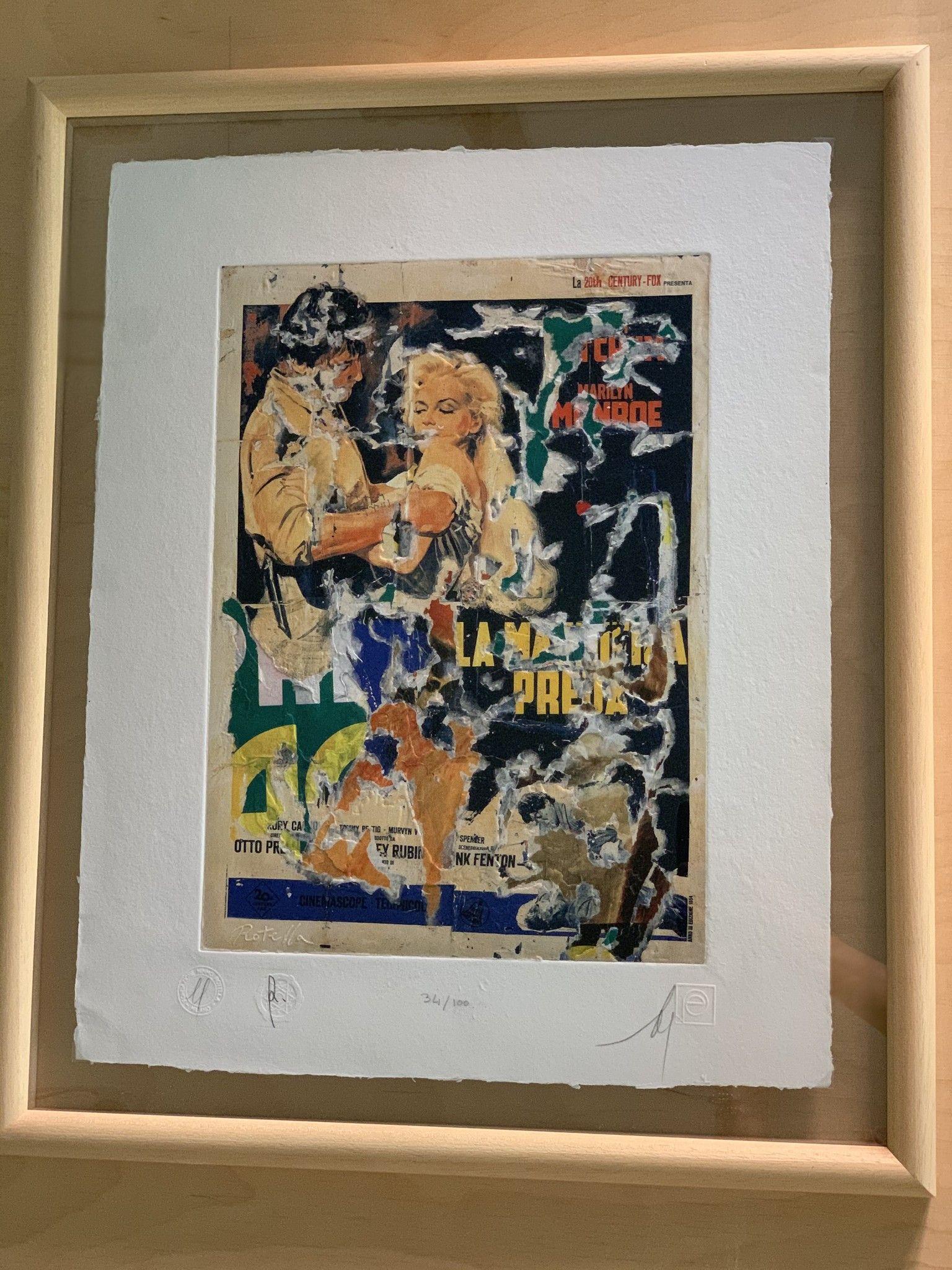 """SERIGRAFIA MIMMO ROTELLA """" LA PREDA """"  dimensioni L 52 x H 62 cm."""