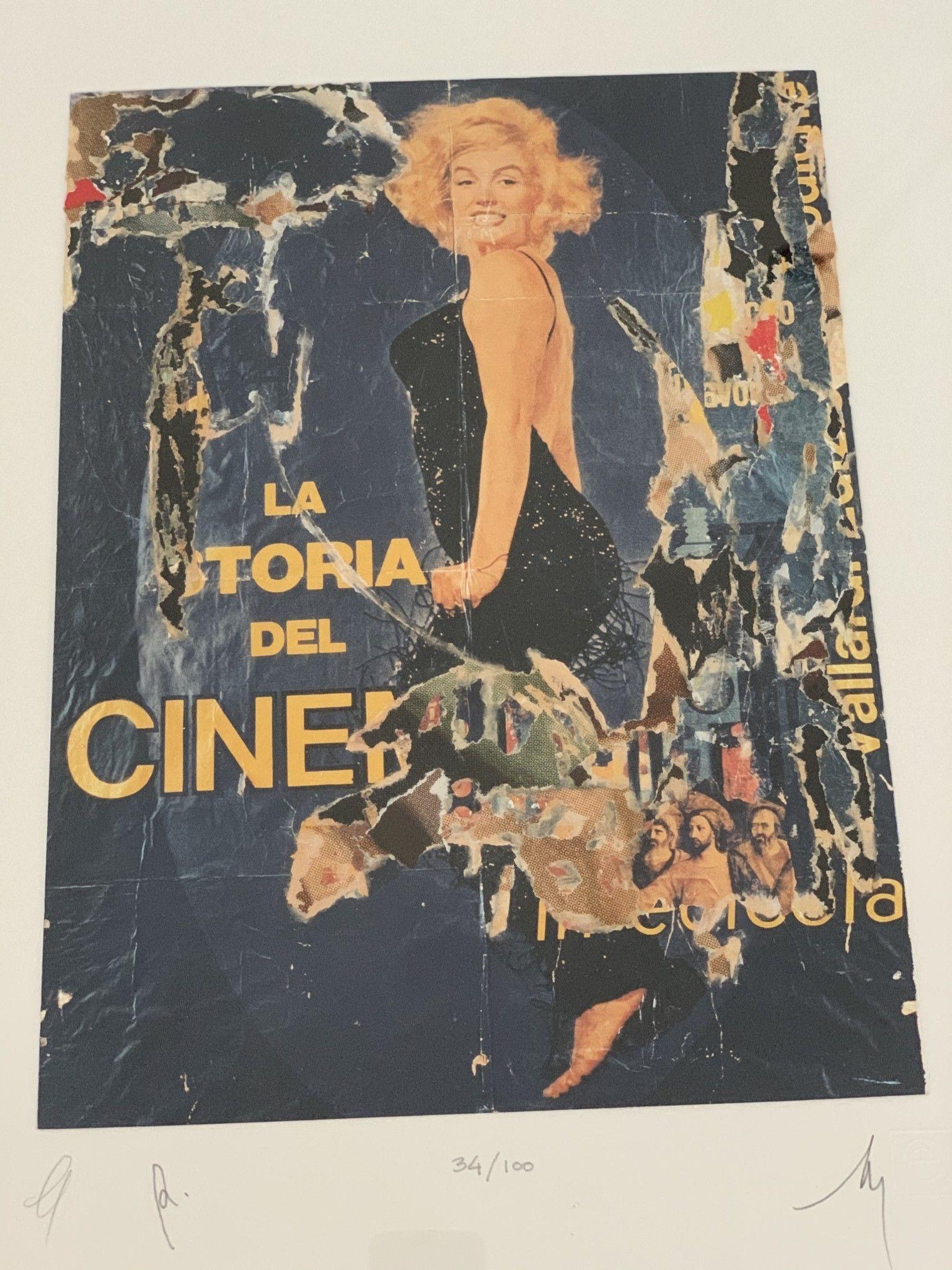 """SERIGRAFIA MIMMO ROTELLA """" LA STORIA DEL CINEMA """"  dimensioni L 52 x H 62 cm."""
