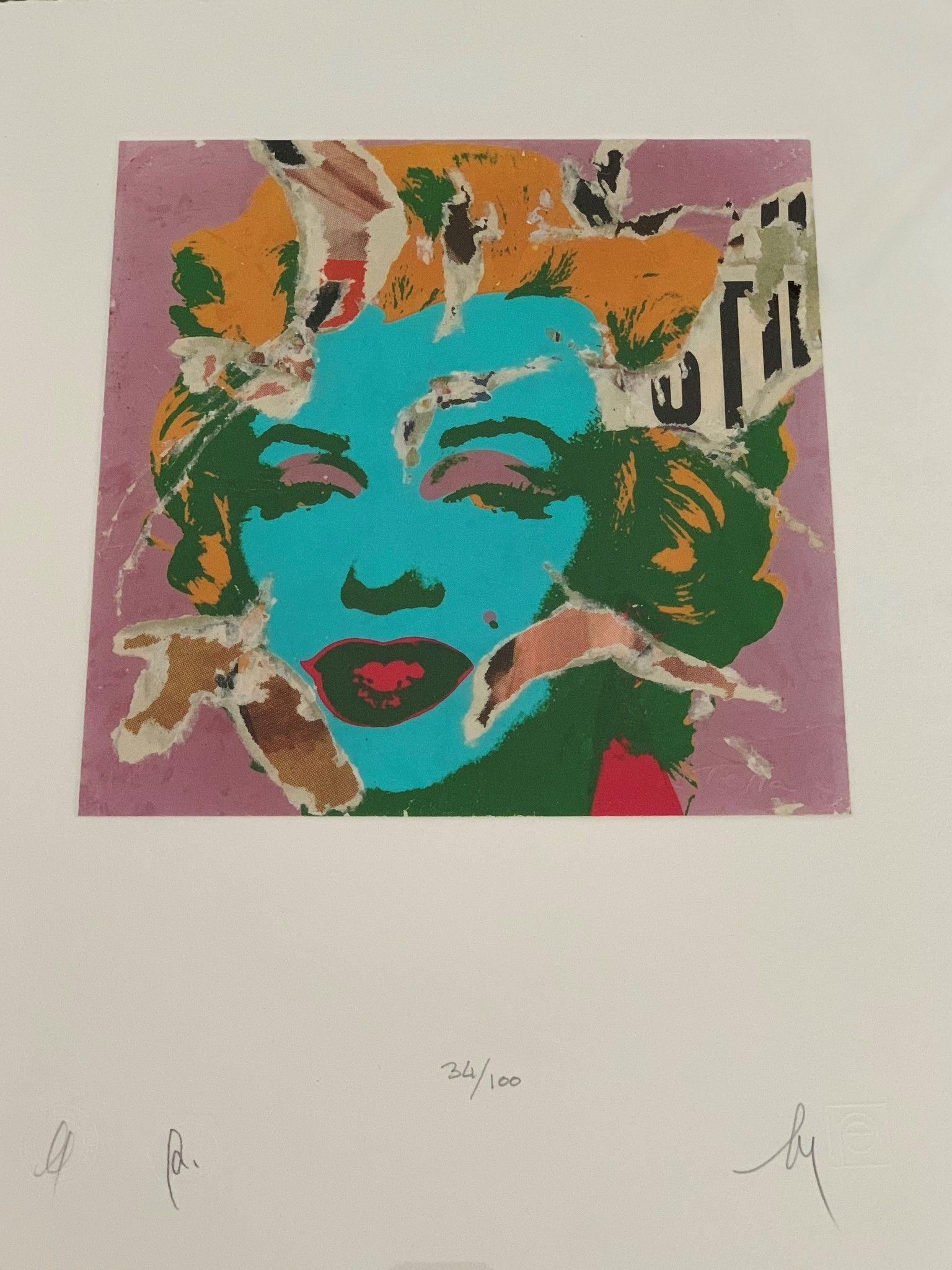 """SERIGRAFIA MIMMO ROTELLA """" MARILYN """"  dimensioni L 52 x H 62 cm."""