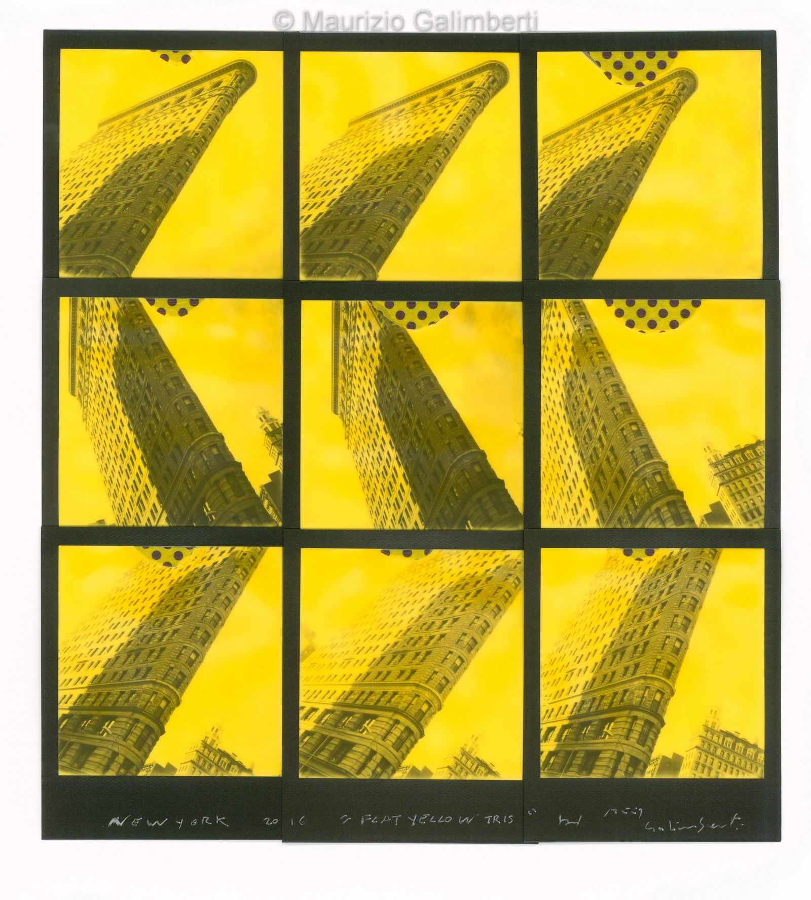 "VINTAGE POLAROID MAURIZIO GALIMBERTI ""FLAT YELLOW TRIS"" dimensioni cm. 49x52"