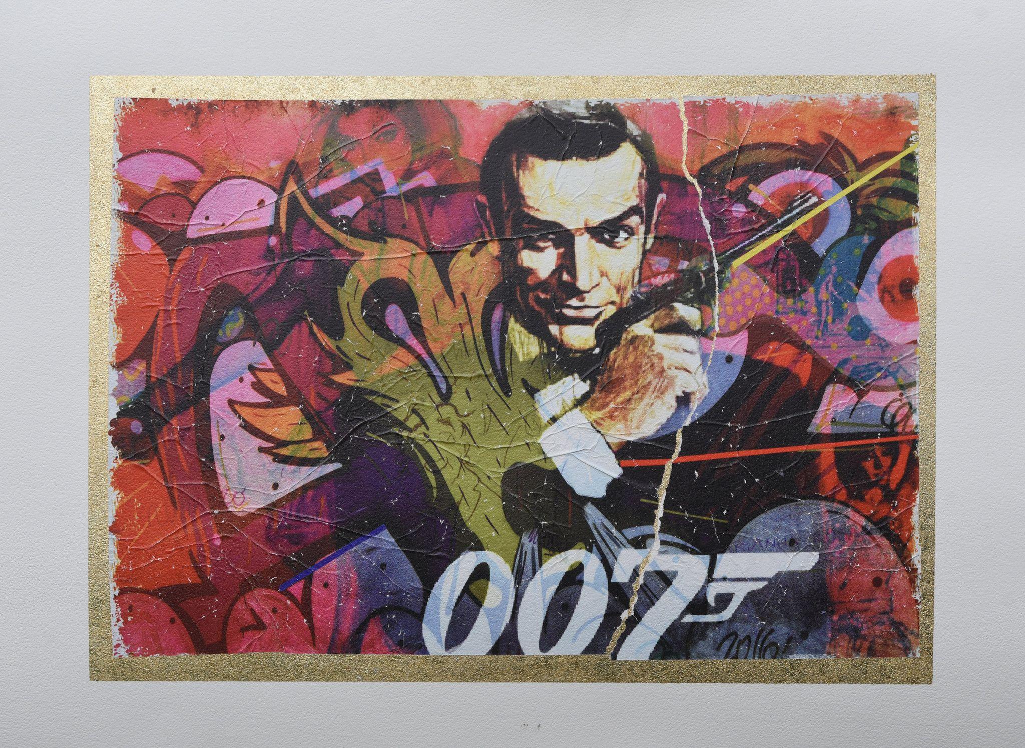 GRAFICA GIULIANO GRITTINI ' 007 '  dimensioni L 50 x H 70 cm.