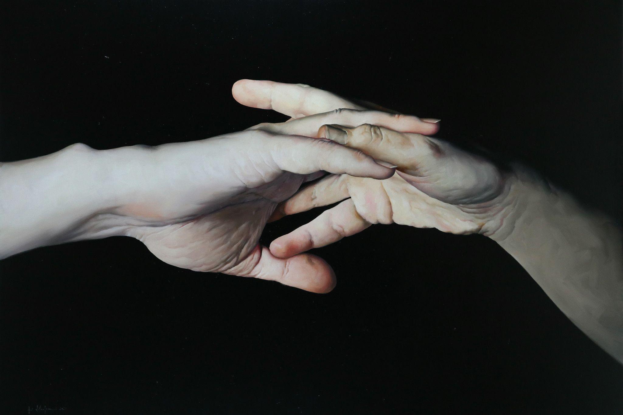 """OLIO SU TELA FILIPPO MANFRONI """" HOLD ME ! """"  dimensioni L 150 x H 100 cm."""