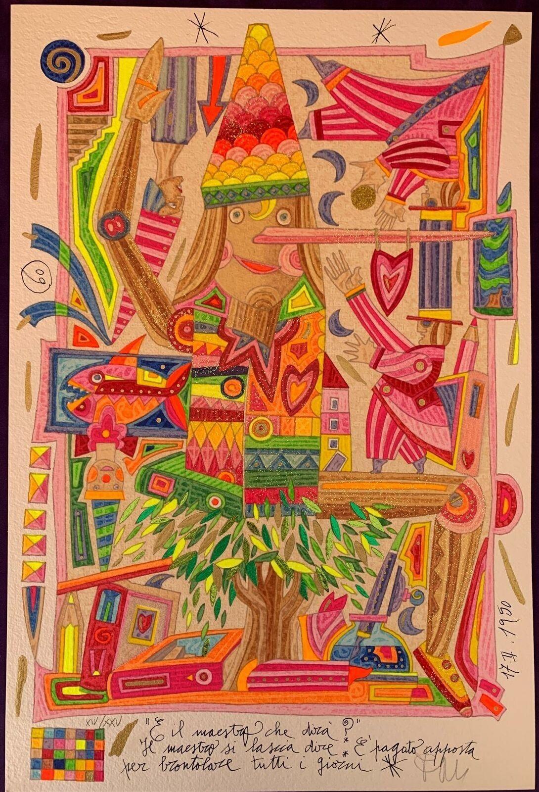 """GRAFICA FRANCESCO MUSANTE """" PINOCCHIO""""  dimensioni L 50 x H 70 cm."""