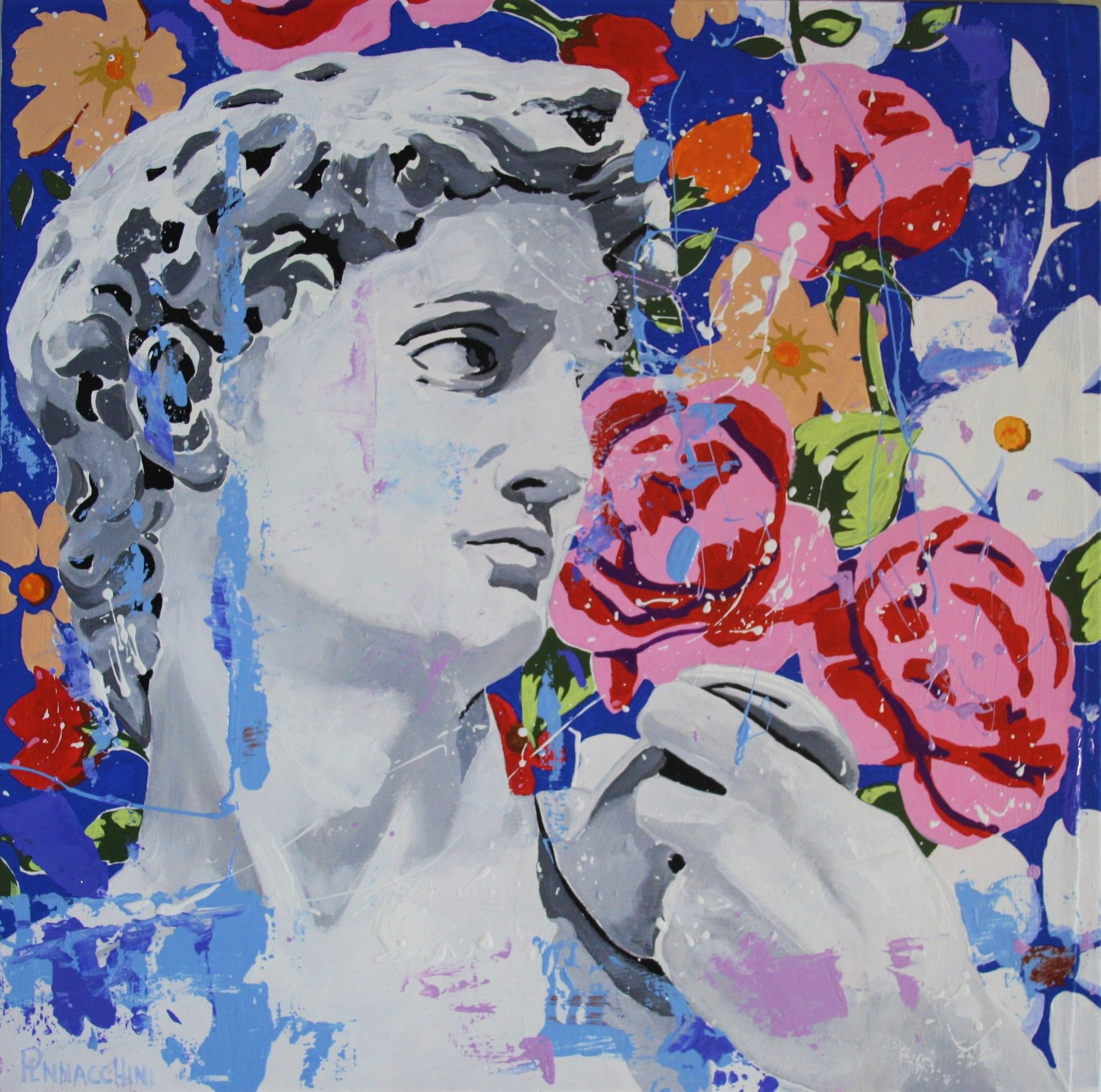 "MIXED MEDIA MASSIMO PENNACCHINI "" DAVID 1 ""  dimensioni L 50 x H 50 cm."