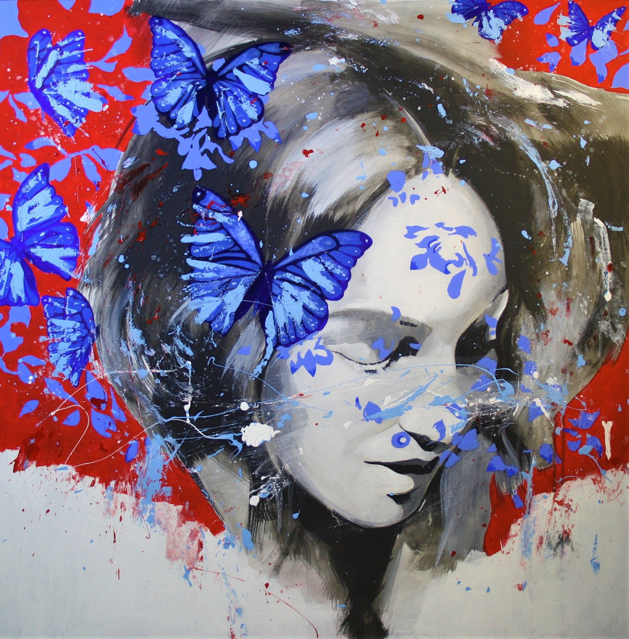 MIXED MEDIA MASSIMO PENNACCHINI ' BUTTERFLY WOMAN ' dimensioni L 90 x H 90 cm.