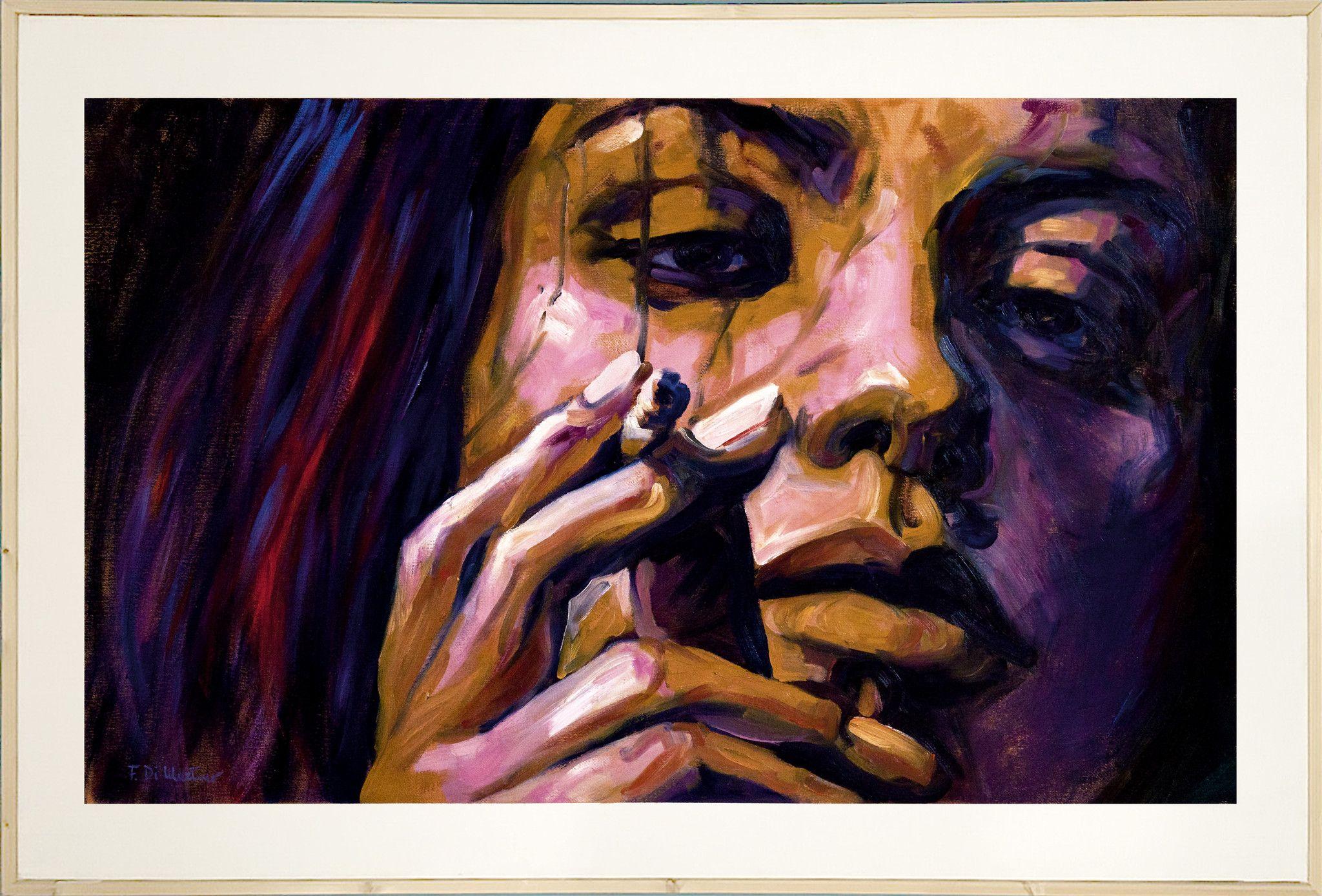 MIXED MEDIA FRANCESCA DI MARTINO ' NO SMOKING '  dimensioni L 150 x H 100 cm.